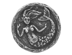 Green Girl Small Mermaid 9/16 inch Pewter Button Antique Silver Color