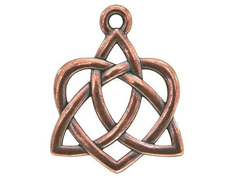 TierraCast Large Celtic Open Heart Large Pewter Drop Copper Plated Charm