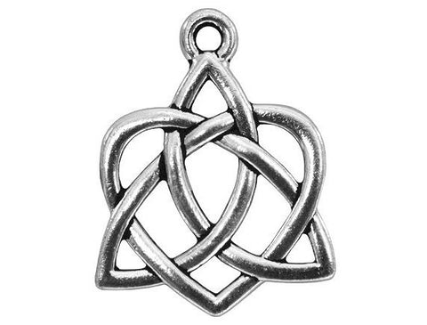 TierraCast Large Celtic Open Heart Large inch Pewter Drop Silver Plated Charm