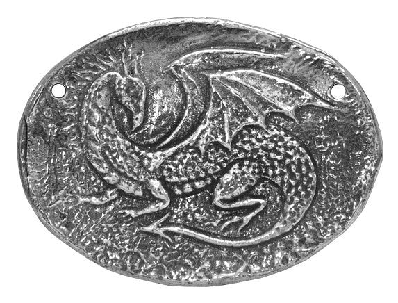 Green Girl Dragon Large Pewter Pendant Antique Silver Color