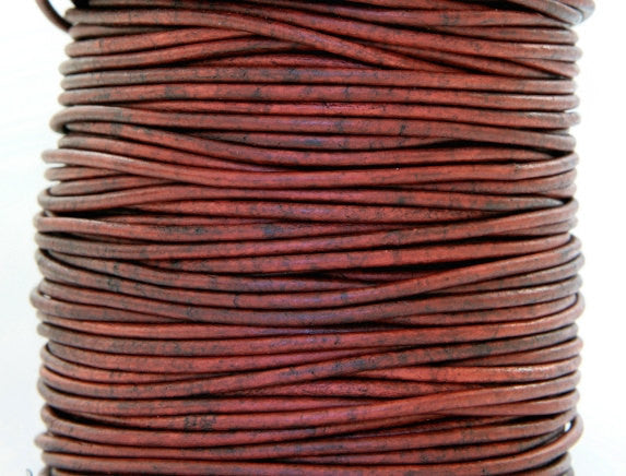 Round Leather Cord 2 mm Diameter Natural Turkey Red By the Yard