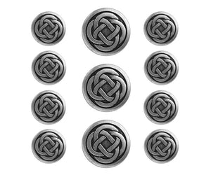 Celtic Knot 11 pc Metal Blazer Button Set Antique Silver Color