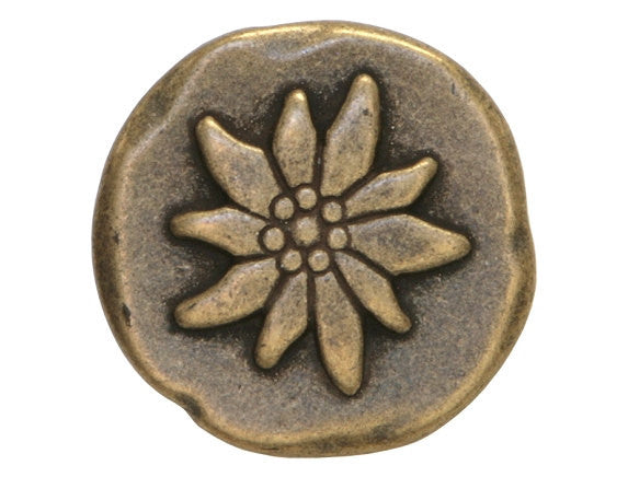 Dill Mountain Flower 15/16 inch Metal Button Antique Brass Color