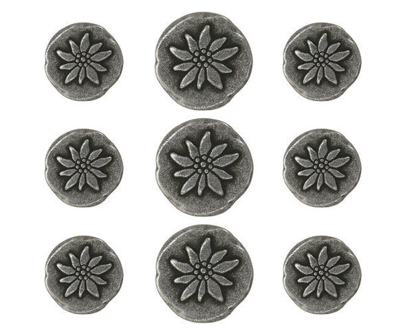 Mountain Flower 9 pc Metal Blazer Button Set Antique Silver Color