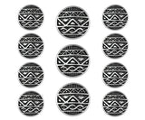 African Shield 11 pc Metal Blazer Button Set Antique Silver Color