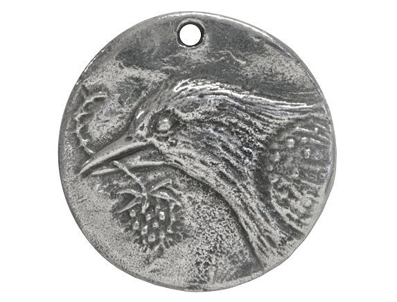 Green Girl Bird Hope Coin Large Pewter Pendant Antique Silver Color