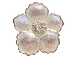 Hibiscus 3/4 inch Metal Button White Copper Color