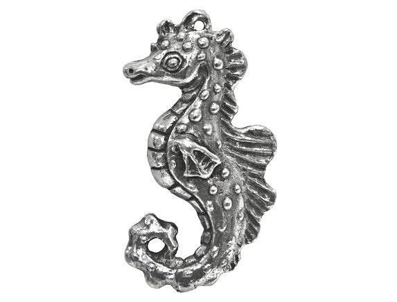 Green Girl Large Seahorse Large Pewter Pendant Antique Silver Color