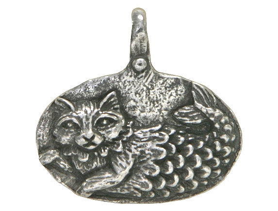 Green Girl Catfish Imagine 15/16 inch Pewter Pendant Antique Silver Color