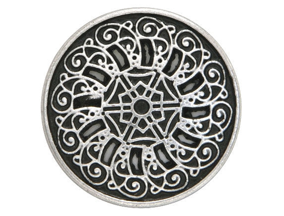 Byzantine  13/16 inch Metal Button Antique Silver Color