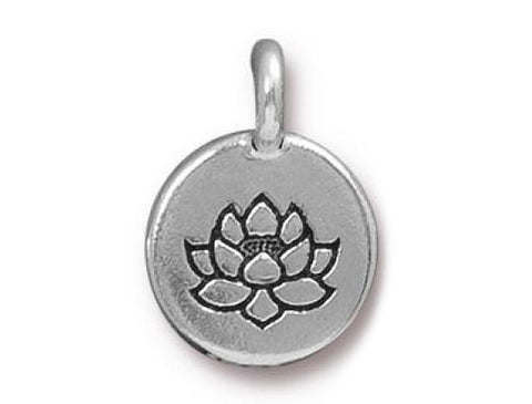 TierraCast Lotus 5/8 inch Pewter Charm Silver Plated