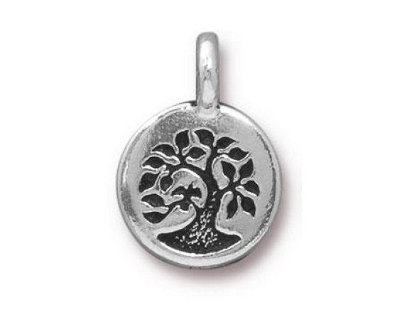 TierraCast Bird in a Tree 5/8 inch Pewter Charm Silver Plated