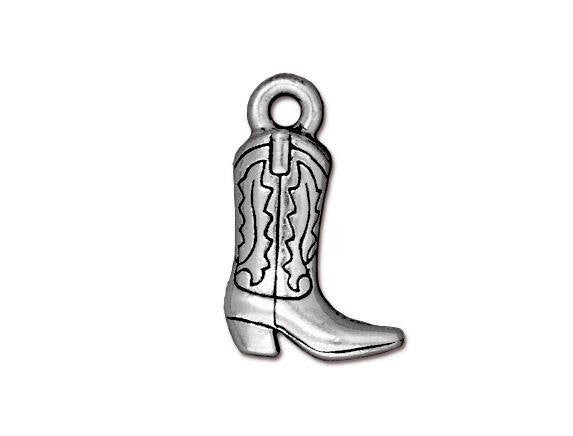 TierraCast Western Boot 3/4 inch Pewter Drop Silver Plated Charm