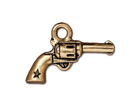TierraCast Six Shooter Pistol 3/4 inch Pewter Drop Gold Plated Charm