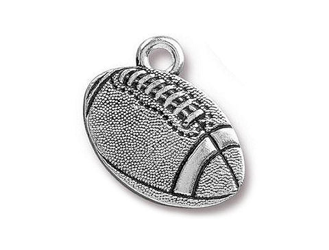 TierraCast Football 11/16 inch Pewter Charm Silver Plated