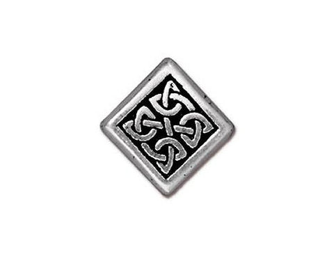 TierraCast Medium Celtic Diamond<br> 1/2 inch Pewter Bead<br> Silver Plated
