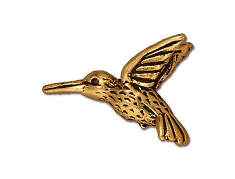 TierraCast Hummingbird 3/4 inch Gold Plated Pewter Bead