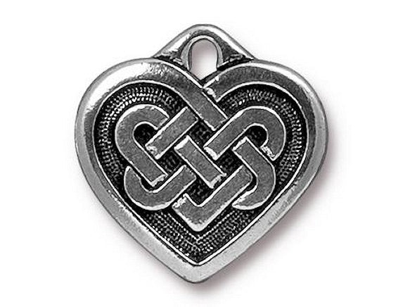 TierraCast Large Celtic Heart 3/4 inch Pewter Drop Silver Plated Charm