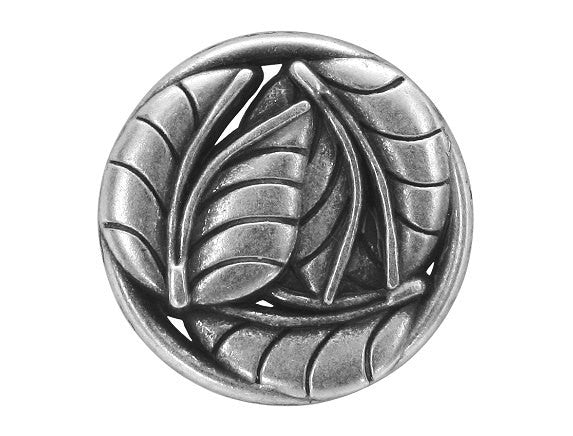Leaves 7/8 inch Metal Button Antique Silver Color