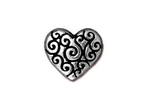 TierraCast Heart Scroll 7/16 inch Silver Plated Pewter Bead