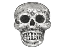 Scary Skull 11/16 inch Metal Button Antique Silver Color