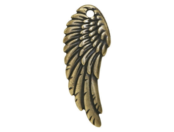 TierraCast Wing 1 inch Pewter Pendant Brass Plated