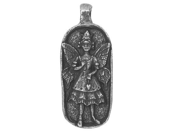 Green Girl 1000 Wishes Fairy Large Pewter Pendant Antique Silver Color