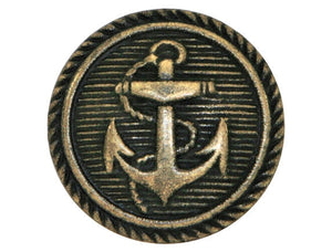 Classic Anchor 9/16 inch Metal Button Antique Brass Color