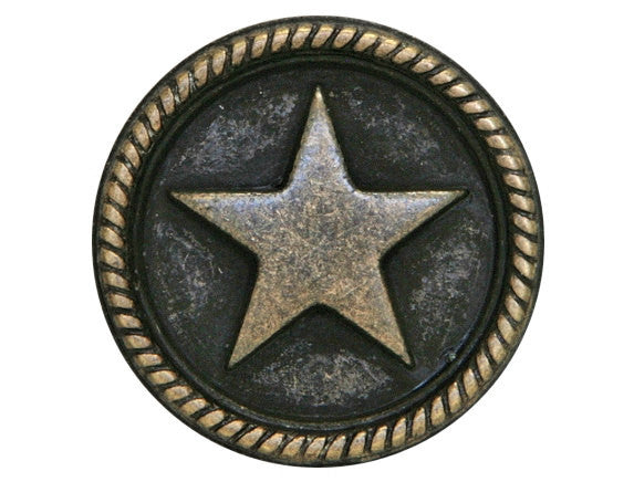 Roped Star 7/8 inch Metal Button Dark Antique Brass Color