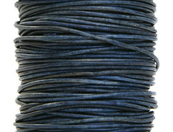 Round Leather Cord 1 mm Diameter Natural Blue 50 Meter Spool