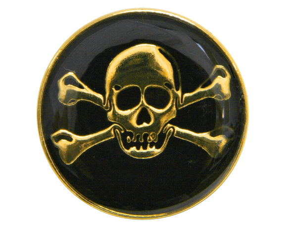 Dill Skull & Crossbones 3/4 inch Metal Button Gold / Black Color