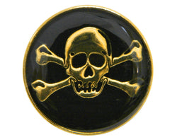 Dill Skull & Crossbones 1 inch Metal Button Gold / Black Color