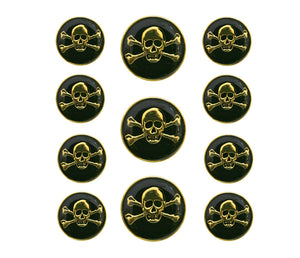 Dill Jolly Roger Skulls 11 pc Metal Blazer Button Set Gold / Black Color