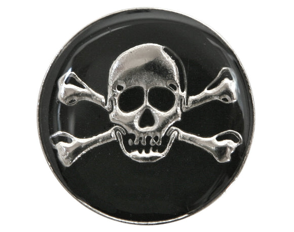 Dill Skull & Crossbones 1 inch Metal Button Silver / Black Color