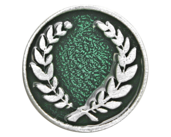 TreasureCast Laurel Wreath<br> 15/16 inch Pewter Button<br> Silver / Green Color
