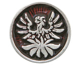 TreasureCast Phoenix 1 inch Pewter Button Silver / Red Color