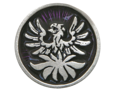 TreasureCast Phoenix 1 inch Pewter Button Silver / Purple