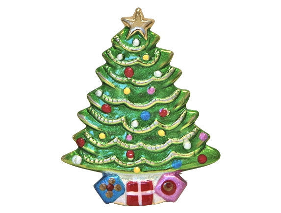 Susan Clarke Christmas Tree Large Metal Button Green Color