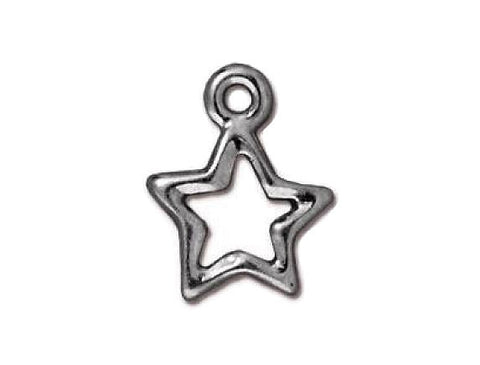 TierraCast Open Star 9/16 inch Pewter Drop Rhodium Plated Charm