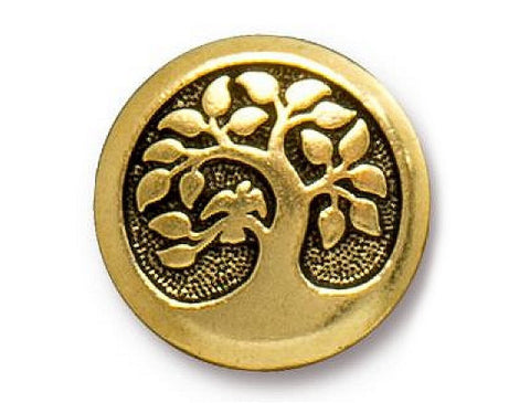 TierraCast Bird in a Tree 5/8 inch Pewter Button Gold Plated