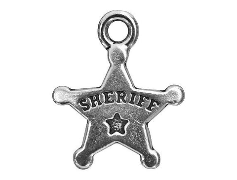TierraCast Sheriff Badge 11/16 inch Pewter Drop Silver Plated Charm
