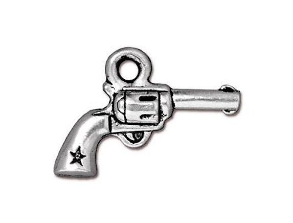 TierraCast Six Shooter Pistol 3/4 inch Pewter Drop Silver Plated Charm