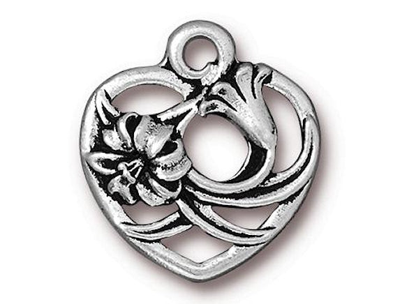 TierraCast Floral Heart 3/4 inch Pewter Charm Silver Plated