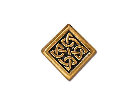 TierraCast Medium Celtic Diamond<br> 1/2 inch Pewter Bead<br> Gold Plated