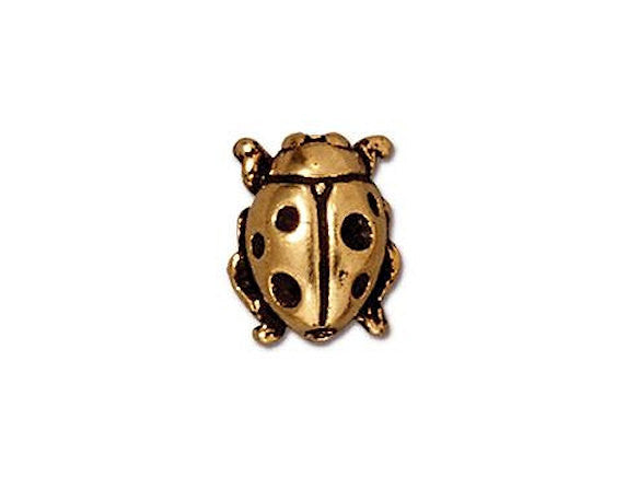TierraCast Ladybug<br> 7/16 inch Pewter Bead<br> Gold Plated