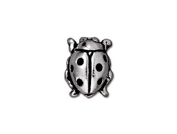 TierraCast Ladybug 7/16 inch Silver Plated Pewter Bead