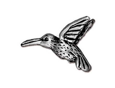 TierraCast Hummingbird<br> 3/4 inch Pewter Bead<br> Silver Plated