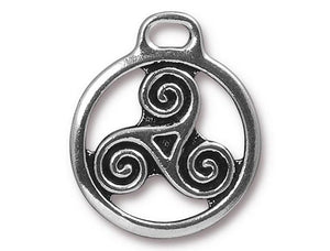 TierraCast Large Triskele 1 inch Pewter Drop Silver Plated Charm