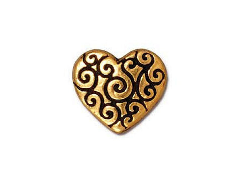 TierraCast Heart Scroll<br> 7/16 inch Pewter Bead<br> Gold Plated