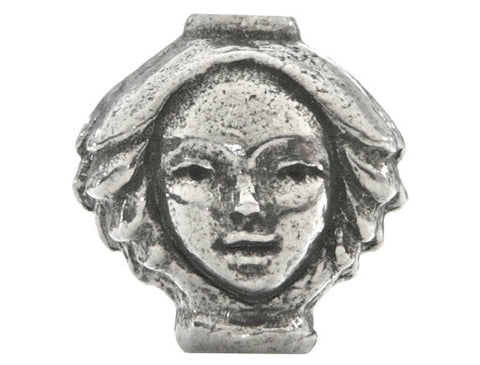 Green Girl Dryad Head 11/16 inch Pewter Bead Antique Silver Color